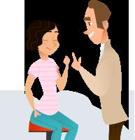 un hypnotherapeute et sa cliente